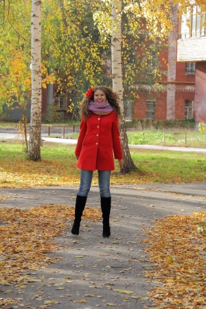 Image of beautiful young woman with autumn leaves Stock Photo - 17456630