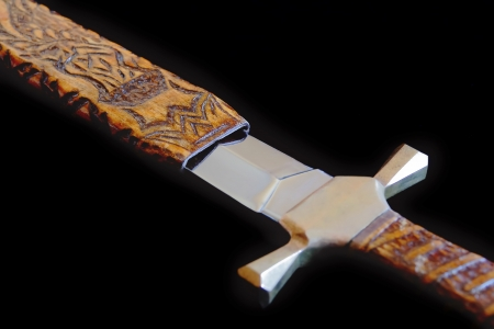 scabbard: Image of cold weapon on black background Stock Photo