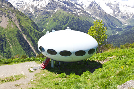 elbrus: UFO hotel in Caucasus mountains Russia Editorial