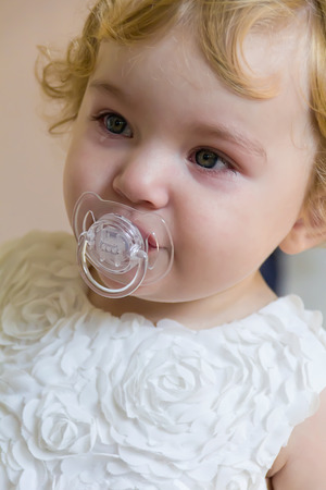 nipple girl: Image of cute baby girl with tear