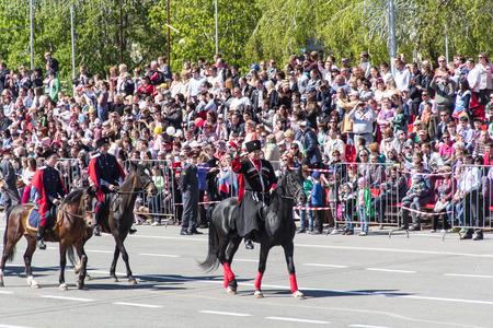 cossack parade: Samara, Russia - May 9: Russian cossacks at the parade on annual Victory Day, May, 9, 2014 in Samara, Russia. Editorial