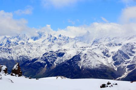 dombay: Winter landscape of mountains Caucasus region in Russia