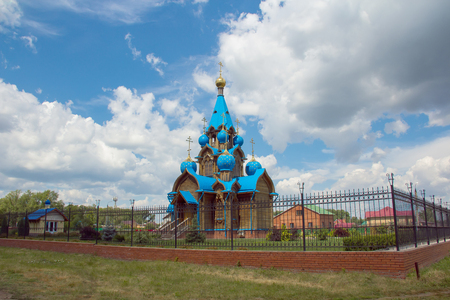 cupolas: Russian province orthodoxy church with blue cupolas