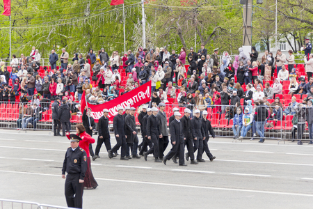 costumed: Samara, Russia - May 9, 2015: Costumed presentation in honor of annual Victory Day