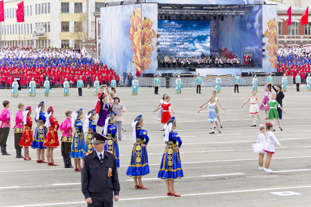 Samara, Russia - May 9, 2015: Children entertainment in honor of annual Victory Day