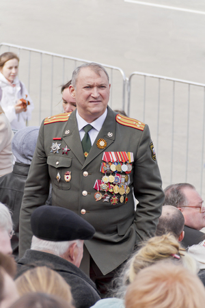 colonel: Samara, Russia - May 9, 2015: Russian colonel on celebration at the parade on annual Victory Day Editorial