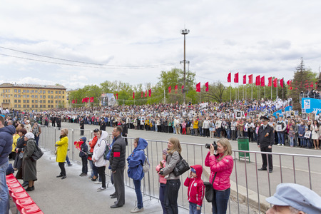 immortal: Samara, Russia - May 9, 2015: Procession of the people in Immortal Regiment on annual Victory Day