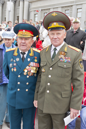 generals: Samara, Russia - May 9, 2015: Meeting of two generals old friends on celebration on annual Victory Day