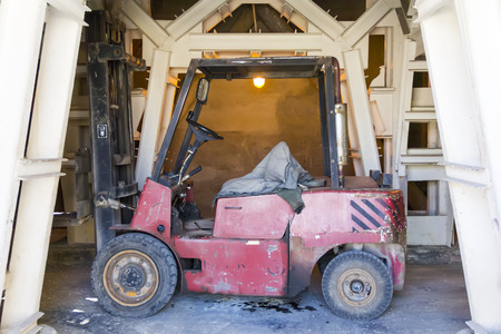 lift truck: Photo of industrial old desolate lift truck