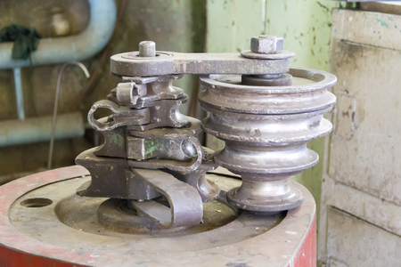 workpiece: Photo of industrial locksmith old tools close up