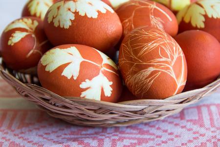 christian religion: Photo of Easter eggs in wickerwork plate