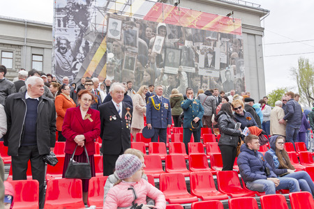 Samara, Russia - May 9, 2015: Russian veteran on celebration at the parade on annual Victory Day Editorial