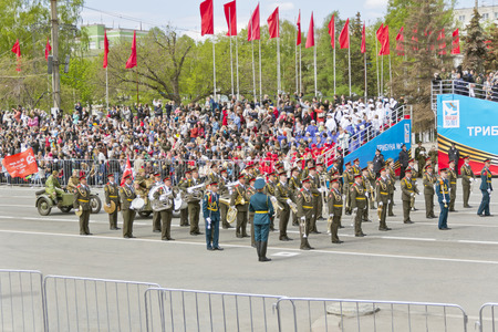 Samara, Russia - May 9, 2015: Russian military orchestra march at the parade on annual Victory Day Editorial