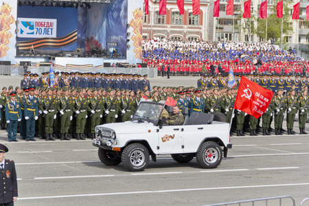 Samara, Russia - May 9, 2015: Russian military transport at the parade on annual Victory Day