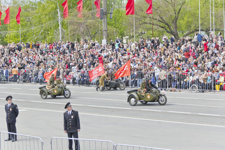 Samara, Russia - May 9, 2015: Russian military motorcycles at the parade on annual Victory Day Editorial