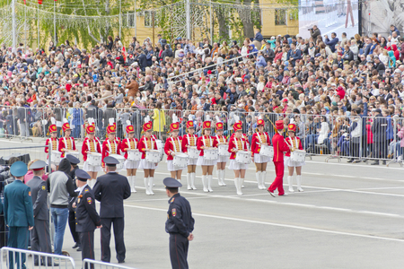 Samara, Russia - May 9, 2015: Russian military women orchestra march at the parade on annual Victory Day