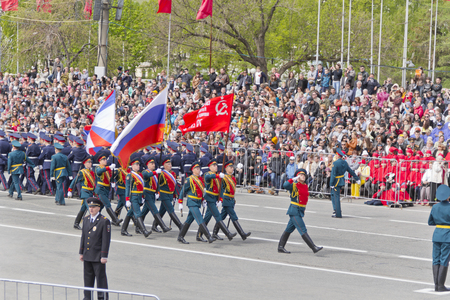 russia flag: Samara, Russia - May 9, 2015: Russian ceremony of the opening military parade on annual Victory Day