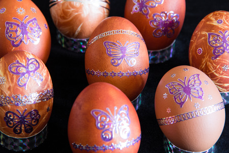 Easter eggs with a pattern of butterflies