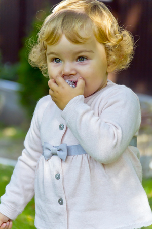 suckle: Photo of cute baby girl suckle nipple