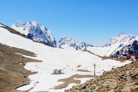 dombai: Winter landscape of mountains Caucasus region in Russia