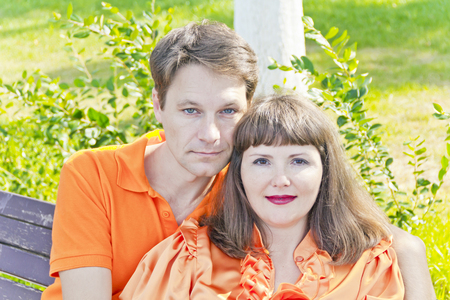 Portrait of couple man and woman in summer time