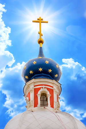 Russian province orthodoxy church in blue sky with sunlight