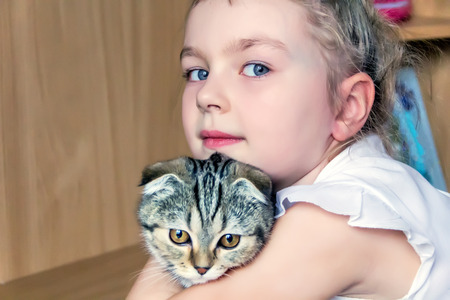 Blond girl with grey kitty in white Stock Photo