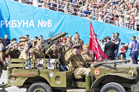 SAMARA, RUSSIA - MAY 9: Russian military transport with solders at the parade on annual Victory Day, May, 9, 2017 in Samara, Russia. Editorial