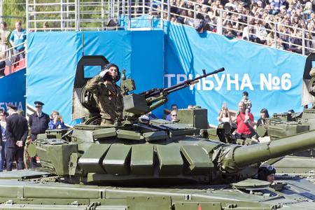 SAMARA, RUSSIA - MAY 9: Russian military transport at the parade on annual Victory Day, May, 9, 2017 in Samara, Russia.