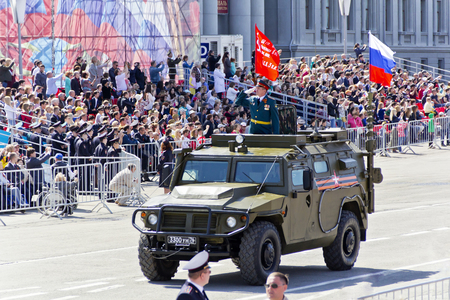 SAMARA, RUSSIA - MAY 9, 2016: Russian military transport at the parade on annual Victory Day, May, 9, 2016 in Samara, Russia. Editorial