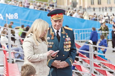 SAMARA, RUSSIA - MAY 9, 2017: Meeting of old friends on celebration on annual Victory Day, May, 9, 2017 in Samara, Russia Editorial