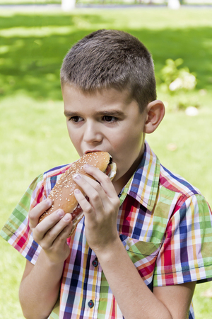 Cute brunette boy eating hotdog with appetite Stock Photo