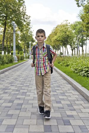 Cute brunette boy eleven years old walking in summer 스톡 콘텐츠