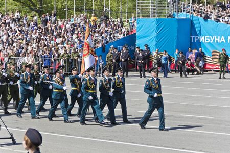 Samara, Russia - May 9, 2017: Russian soldiers march at the parade on annual Victory Day