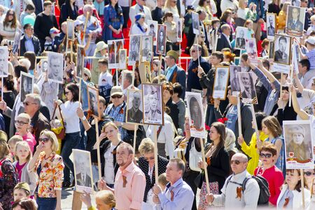 Samara, Russia - May 9, 2016: Procession of the people in Immortal Regiment on annual Victory Day Redakční