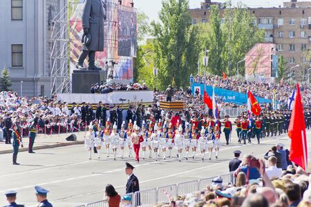 Samara, Russia - May 9, 2016: Russian military women orchestra march at the parade on annual Victory Day