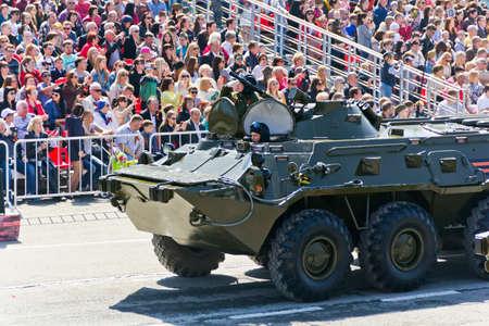 SAMARA, RUSSIA - MAY 9, 2016: Russian military transport at the parade on annual Victory Day, May, 9, 2016 in Samara, Russia. Editorial