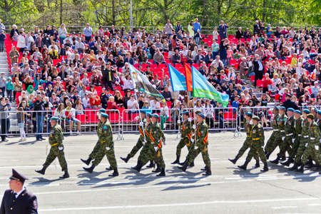 SAMARA, RUSSIA - MAY 9, 2016: Russian soldiers march at the parade on annual Victory Day, May, 9, 2016 in Samara, Russia. Editorial