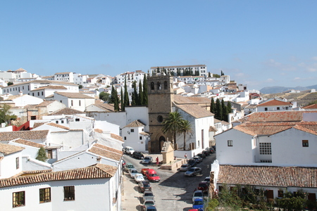 spanish houses: Ronda, Spain - October 2010 - view of town with blue sky