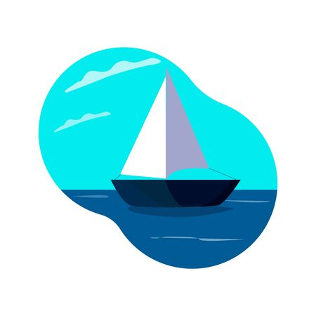 Yacht at sea under sail isolated on a white background, Illustration in flat style, represents a summer trip, vacation, adventure. Vector illustration.