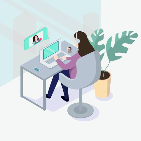 A woman having a conference call with a work colleague online. Vector illustration in an isometric projection.