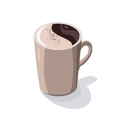 Trendy illustration with black coffee with milk isolated on white background. A Cup of hot coffee in isometry.