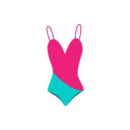 Swimsuit for women. Stylish and fashionable womens lingerie and swimwear isolated on white background. Vector illustration. 向量圖像