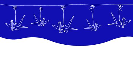 Seamless horizontal border with Japanese origami cranes. Hand-drawn vector illustration.