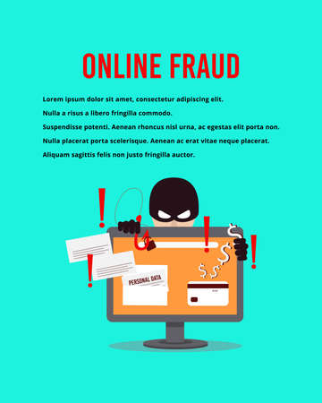 A computer hacker who steals money and personal data on the Internet. Poster template. Vector illustration.