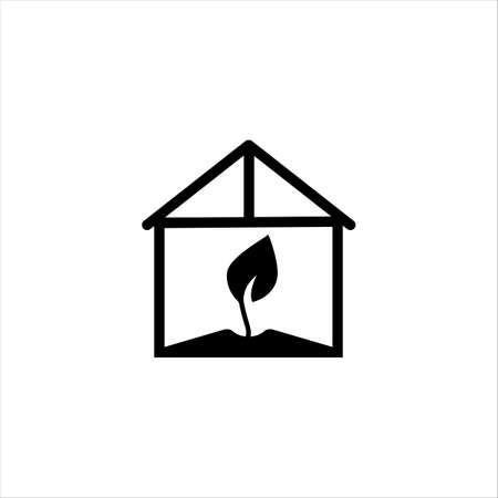 Greenhouse glyph icon. Solid vector black icon isolated on a white background. Logo illustration. Symbol of a gardening, agriculture.