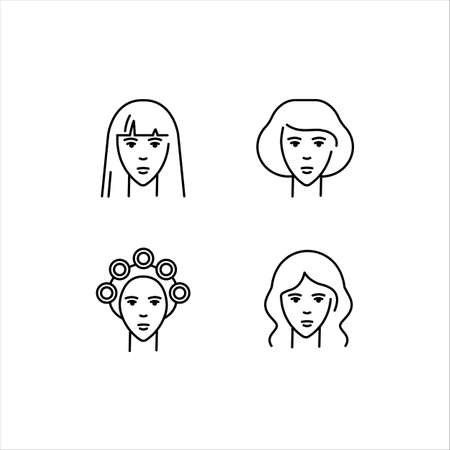 Womens hairstyles. Perm, styling, straightened hair. A set of vector icons in the outline style, isolated on a white background. Logo illustration. Ilustração