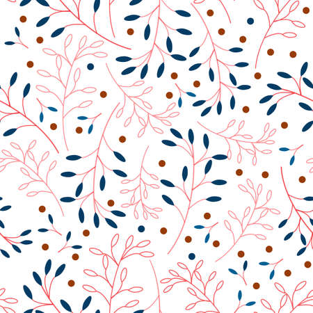 Floral seamless vector pattern consisting of blue and red twigs and orange berries on a on white background. 向量圖像