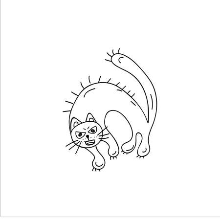 The evil cat bristled, extended its claws, and arched its back. Doodle element. Simple vector sketch illustration isolated on a white background
