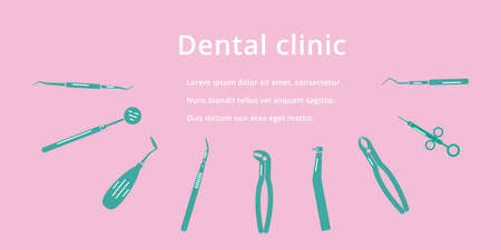 Dental clinic, dentistry, orthodontics banner,  with flat isolated icons on  pink